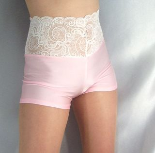 BABY PINK WHITE LACE TOP SHINY SPANDEX SHORTS HOT PANTS XS XXXL