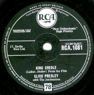 CLASSIC ELVIS PRESLEY 78rpm KING CREOLE / DIXIELAND ROCK UK RCA 1081