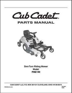 Cub Cadet ZeroTurn Lawn Mower Model FMZ 50 Parts Manual