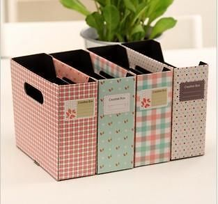 1xDIY Floral Dot Grid Paper Storage Box Desktop Finishing Box