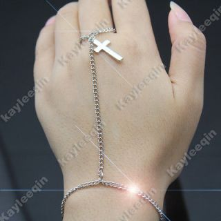 Polish Silver Crucifix Cross Bracelet Slave Chain Link Hand Harness