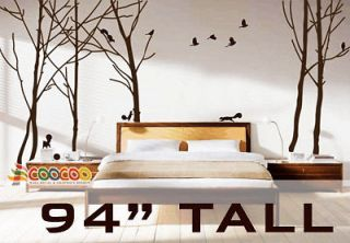 Wall Decor Decal Sticker vinyl large tree forest birds