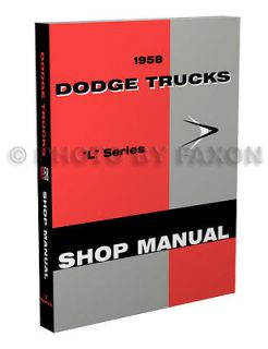 1958 Dodge Truck Repair Shop Manual 58 Pickup Power Wagon Panel