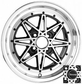 15 x7 4x100 4 LUG DRAG DR20 BLACK WHEEL RIMS CHROME LIP