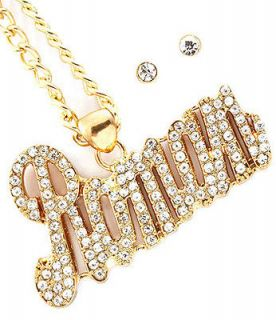 Nicki Minaj Iced Out ROMAN RELOAD Pendant Necklace Set Gold