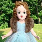 Mary Hoyer Doll Hard Plastic Tagged Blue Net Formal Gown Fur Wrap