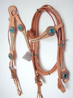 Western Headstall Breast plate Natural Teal Green Bling Showman Horse