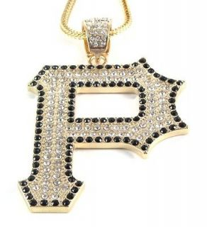 ICED OUT LETTER P PENDANT w/ 30 & 36 CHAIN NECKLACE WIZ KHALIFA HIP