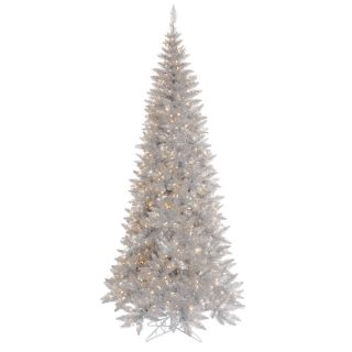 FT GORGEOUS SILVER FIR TREE ~CLEAR LIGHTS ~SLIM PRE LIT LIGHTED