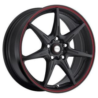 NJ11 black red stripe wheel rims 5x4.5 mazda 5 6 626 929 mx5 miata