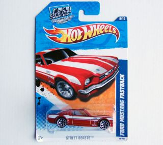2011 Hot Wheels 89 Ford Mustang Fastback New On Card Red with White