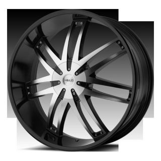 22 Wheels Rims HE868 Black with Machined Face Caliber Edge Explorer