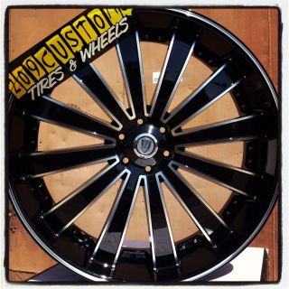 24 inch Versante Rims Wheels Tires VW225 5x115 24x9 5 Black Dodge