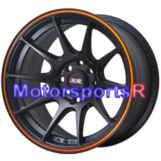 16 x 8 XXR 527 Black Orange Concave Rims Wheels Stance 84 85 86 89 90