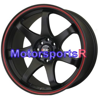 XXR 522 Flat Black Red Stripe Rims Wheels Concave Stance 4x100 25 ET