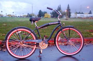beach cruiser bicycle, BLACK/RED RIMS, beach bike with 26 wheels,mens