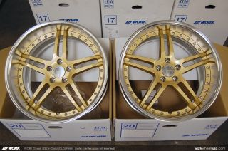 Work Gnosis GS2 Rims Wheels 20in Staggered Gold 350Z 370Z G35 G37