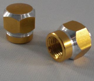Gold Hex Custom Valve Stem Caps for Motorcycle Car Rims