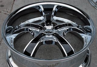 22 Starr 663 Triple Chrome Wheels Rims Tires Pkg Black Inserts 5x127