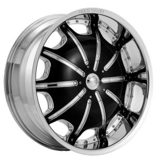 24 inch Rims and Tires Wheels Rockstarr 557 Chrome Black Lexus GX470