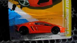 HOT WHEELS 2012 LAMBORGHINI AVENTADOR CUSTOM BLACK WHEELS RUBBER TIRES
