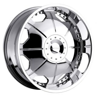 24 inch Strada Mirror Chrome Wheels Rims 6x5 5 GMC Yukon Chevy Tahoe