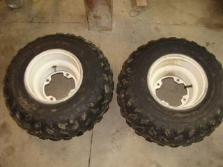 87 88 89 90 Kawasaki Mojave KSF 250 Rear Wheels Rims Tires ATV 22x11