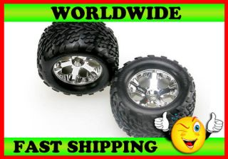 Traxxas 4171 All Star Chrome Front Wheels w Talon Tires Nitro Stampede