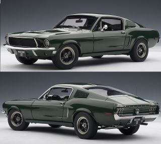 Autoart 72812 1 18 Scale 1968 Ford Mustang GT 390 Green Diecast Model