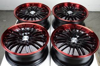 Black Effect Wheels Red Sebring Soul WRX RSX Lexus 5 Lug Rims