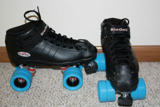 Riedell R3 Roller Derby Roller Skates Black Ice Blue Wheels SIZE 7