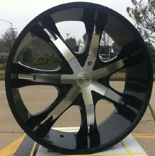 24 inch Warwich 705 Black Rims and Tires for 2007 and Up Dodge Nitro