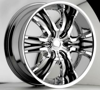 22 inch Cattivo 767 Chrome Black Wheels Rims 5x120 15