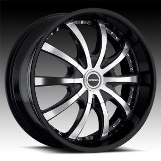 22 inch Strada Sole Black Wheels Rims 5x5 5x127 Grand Cherokee Caravan