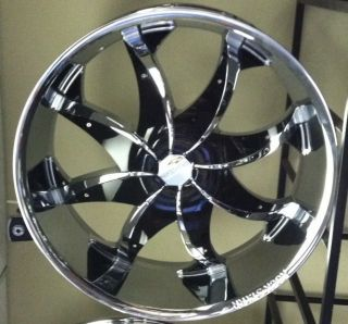 20 New Chrome Wheels Rims Tires Pkg Black Inserts Rocknstarr 608