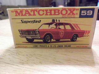 VINTAGE MACTHBOX CAR #59 SUPERFAST FIRE CHIEF CAR LESNEY PRODUCTS&CO