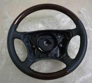 1999 2006 Mercedes W220 S500 Wood Leather Steering Wheel Burl Black