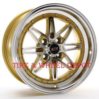 15 INCH STR505GM GOLD/MACH RIMS AND TIRES 4X100 ACCORD CIVIC FIT