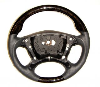 Mercedes CLK W209 SL R230 W211 Black Wood Black Leather Steering Wheel