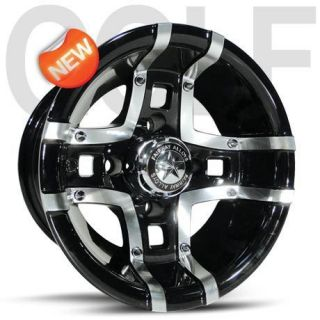 Prestige Machined Gloss Black Golf Cart 4 Wheels Rim 10x7