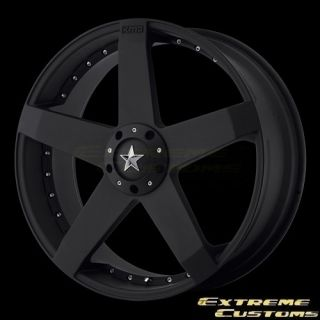 Wheels KM775 Rockstar Car Matte Black 4 5 Lug Rims Free Lugs