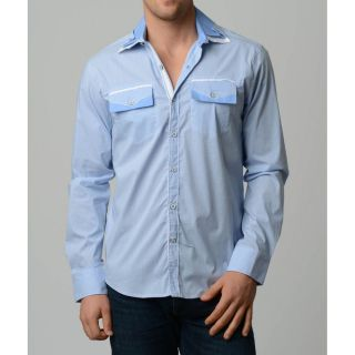 V.i.p. Collection Mens Sky Blue Slim fit Long Sleeve Button Down Shirt