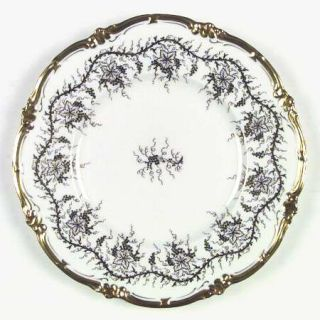 Royal Cauldon KingS Plate White Dinner Plate, Fine China Dinnerware   Gold Grap