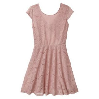 Xhilaration Juniors Open Back Lace Dress   Pale Mauve XL(15 17)