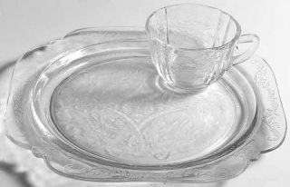 Indiana Glass Recollection Clear Snack Plate and Cup Set   Clear,Pressed,Scroll