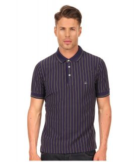 Vivienne Westwood MAN Stripe Pique Polo Mens Short Sleeve Pullover (Navy)