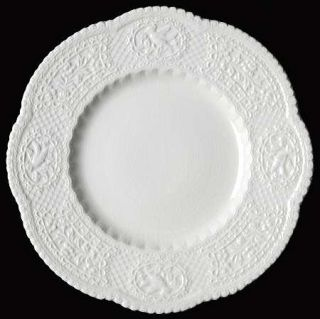 Royal Cauldon Aviary Luncheon Plate, Fine China Dinnerware   White Embossed,No