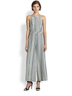 Line & Dot Open Back Printed Wide Leg Jumpsuit   Mojave Stripe