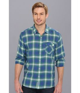 Lucky Brand Pioneer Plaid 1 Pocket Mens Long Sleeve Button Up (Blue)