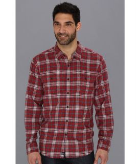 Lucky Brand Palisades Plaid 2 Pocket Mens Long Sleeve Button Up (Red)